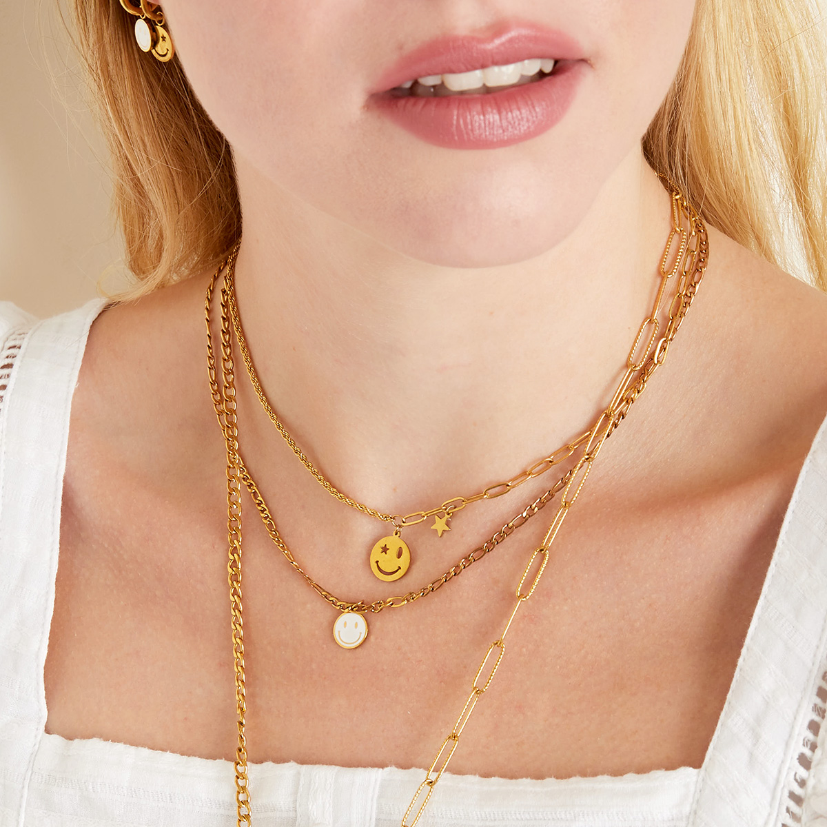 Ketting Smiley Face Goud