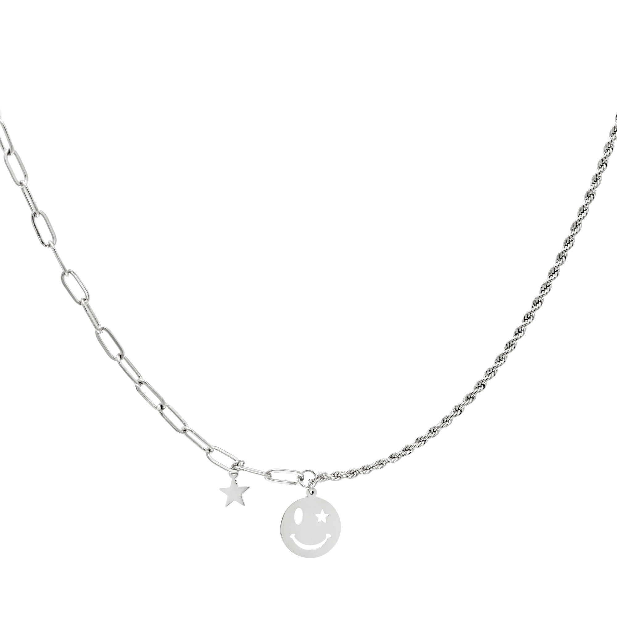 Ketting Smiley Face Zilver