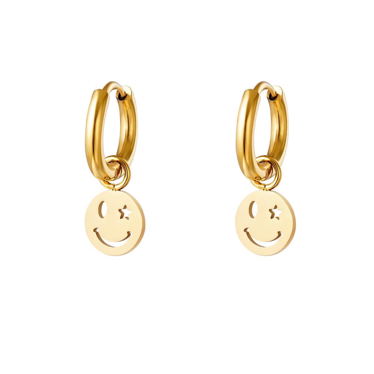 Oorbellen - Smiley Face - Goud