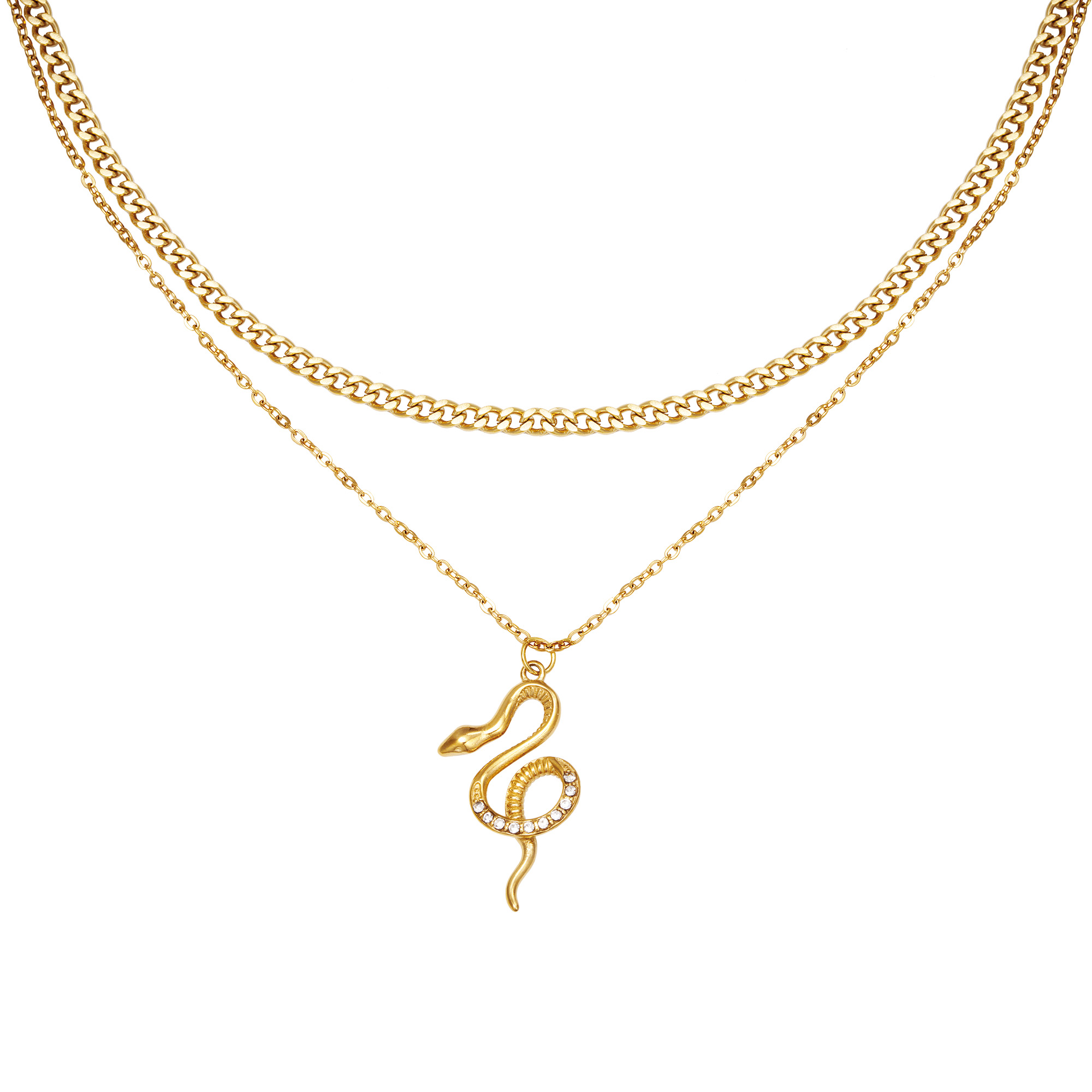 Ketting Chained Snake Goud